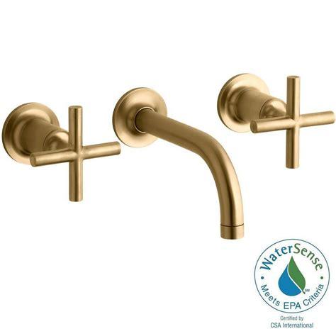 brushed gold bathroom faucet kohler purist wall mount 2 handle bathroom faucet trim kit