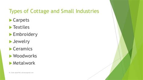 Types Of Cottage Industries by Cottage And Small Industries Of Pakistan By Dr Zafar Iqbal