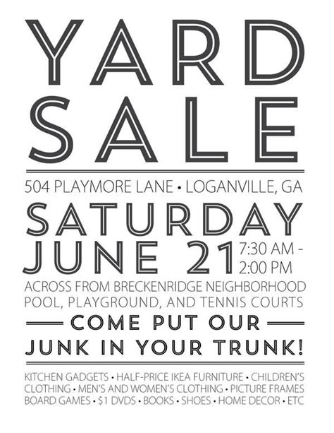 yard sale flyer template word 422 yard sale sign cliparts stock