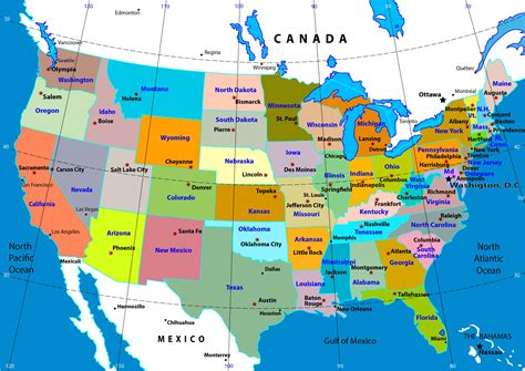 geographical map of the united states of america map usa