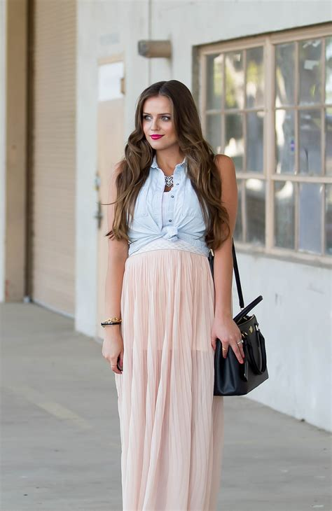 #BumpStyle // Chiffon Maxi Skirt & Tie Front Chambray   BondGirlGlam.com