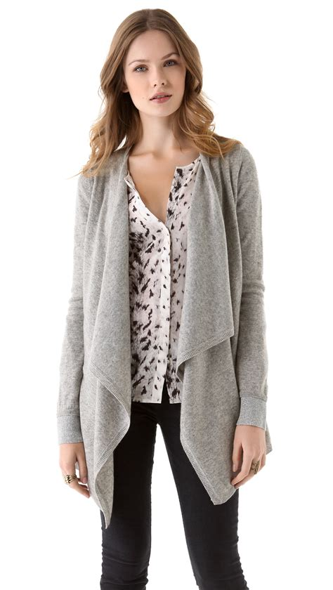 draped cardigans joie yoko draped cardigan in gray grey lyst