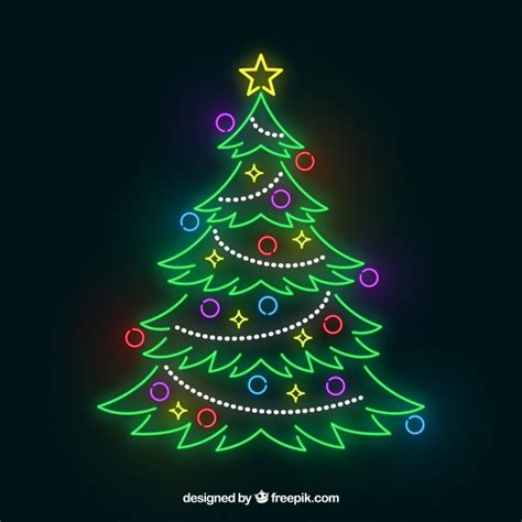 neon xmas tree shiny tree out of neon lights vector free