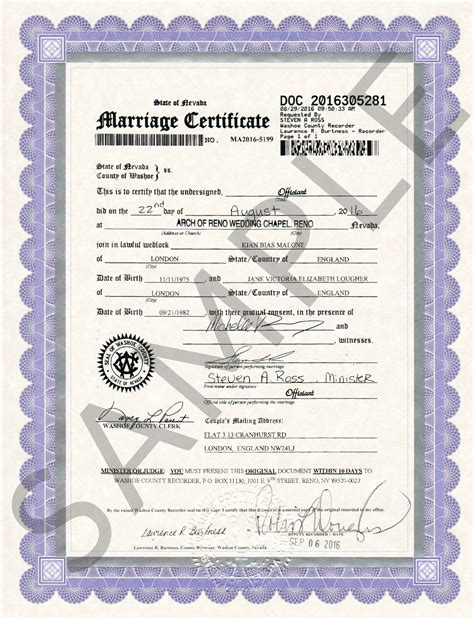 Reno County Marriage Records Sle Certificates Nevada Document Retrieval Service