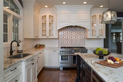 Colonial Kitchen Lansdowne by Colonial Gold Granite For A Traditional Kitchen With A Wood And Leesburg River Creek