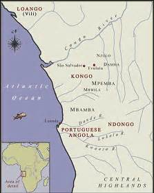Map main region of military battles between kingdom of ndongo and