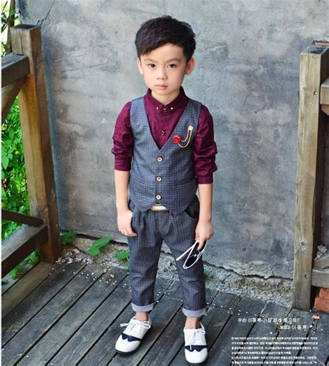 Boy Set 2 In 1 in stock new baby suit vest trousers boy blazers sets children garment 2 10t child clothing