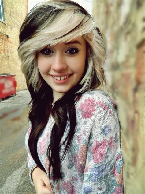 pictures of girl hairstyles with blond on top and dark bottom top 10 best stylish emo girl hairstyles for medium length