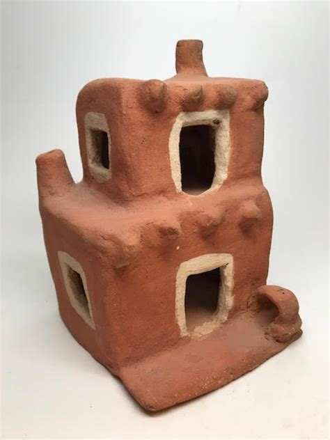 pueblo pottery small scale adobe houses