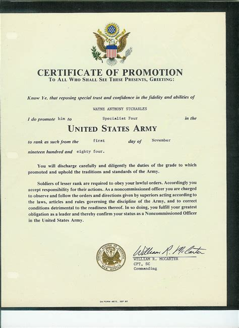 army promotion certificate template wayne st charles army trip to berlin and east berlin