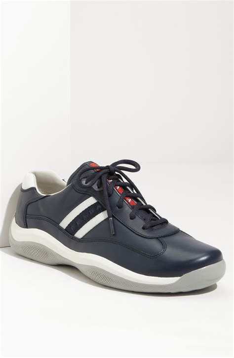 prada sneakers prada leather lace up sneakers in blue for lyst