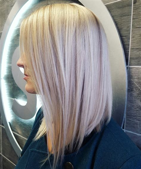 blonde and lowlights for medium straight hair lob long bob platinum blonde icy blonde lowlights