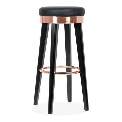 restaurant metal bar stools fusion wooden bar stool with metal ring black copper 75cm