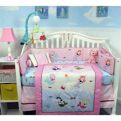 soho boutique mermaid baby nursery crib bedding with gray