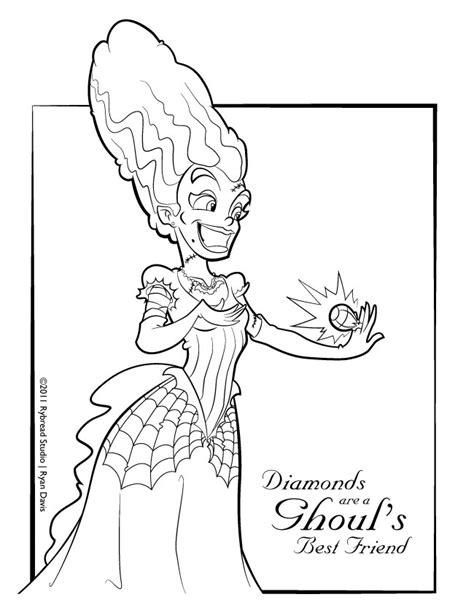 bride of frankenstein coloring page rybread studio