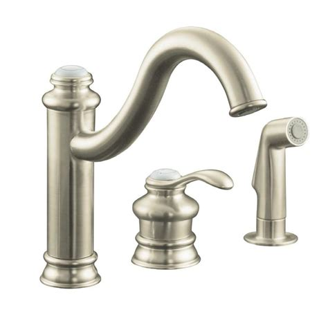 kohler brushed nickel kitchen faucet shop kohler fairfax vibrant brushed nickel 1 handle high arc kitchen faucet with side spray at
