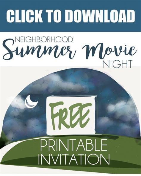 backyard movie night invitations host a neighborhood outdoor movie night free printable