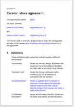 Caravan Owners Sharing Agreement Template Fractional Ownership Agreement Template