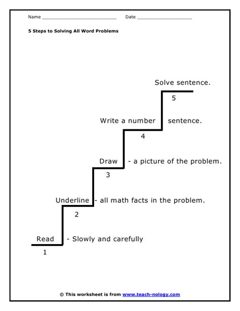 Step Five Worksheet by Mathematics Problem Solving Process Techniques