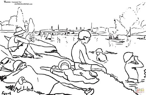George Seurat Coloring Pages ausmalbild die badenden in asni 232 res georges seurat