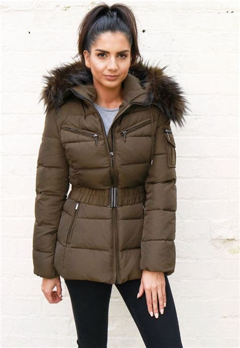 Puffer Coat quilted longline hooded puffer coat with faux fur