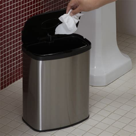 trash can bathroom nine stars dzt 8 1c touchless stainless steel 2 1 gallon