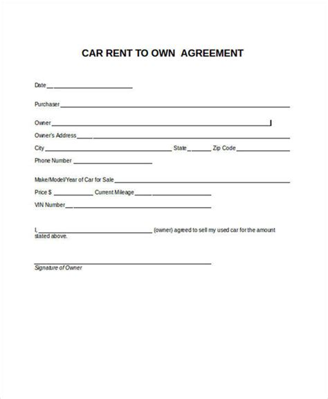 6 Rent To Own Contract Sles Templates Sle Templates Lease To Own Vehicle Contract Template