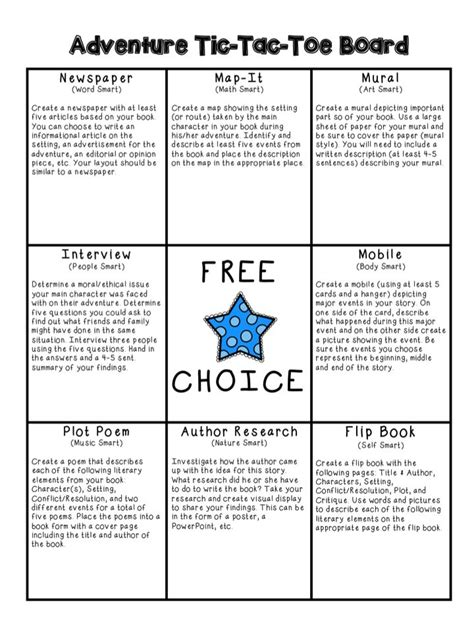 tic tac toe project template book project adventure genre choice board teaching