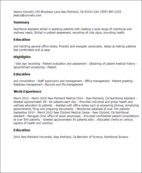 Nutrition Assistant Sle Resume 1 nutrition assistant resume templates try them now myperfectresume