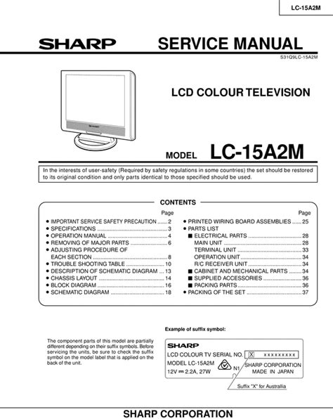 Tv Sharp Lc 24le175i free sharp lc 32 d40u lcd tv original service manual
