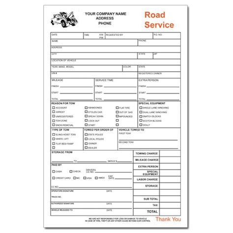 Towing Invoice   Roadside Service Forms   DesignsnPrint