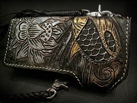 Japanese Leather Wallet Pattern | japanese koi pattern leather wallet biker leather wallet
