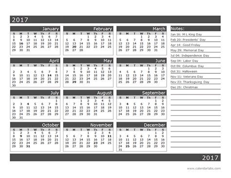 2017 12 month calendar template one page organization