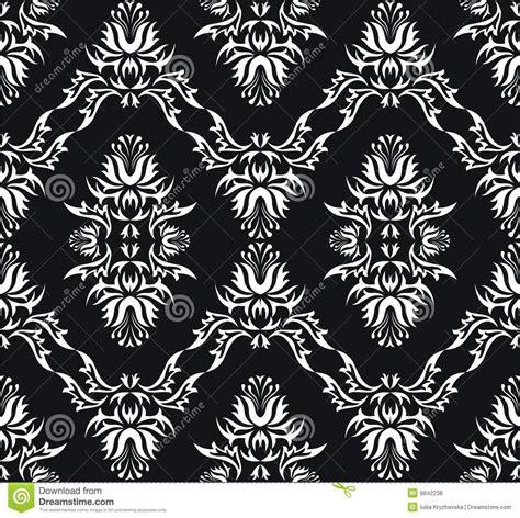 black victorian pattern damask victorian seamless black texture stock vector