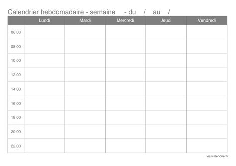 Calendrier Hebdomadaire Agenda Hebdomadaire 2016 A Imprimer Calendar Template 2016