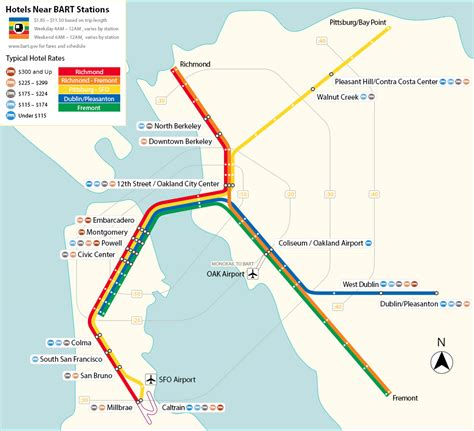 san francisco map with bart maps of san francisco bart stations with hotels hotels