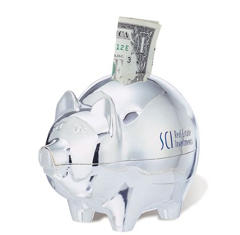 savings banks silver plated piggy bank item sp203 imprintitems
