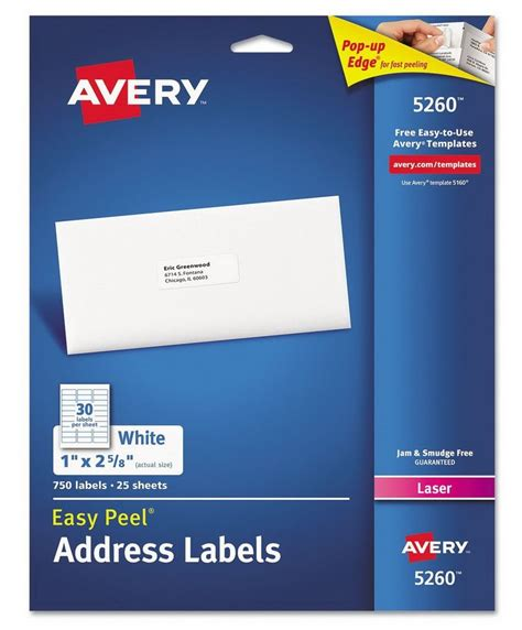 1 x2 5 8 label template new 750 avery laser address labels 5160 5260 easy peel