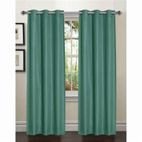 Grey And Teal Curtains Semi Opaque Galaxy 84 In L Room Darkening Textured Grommet Curtain Panel Pair Grey