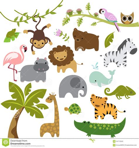 animal clipart baby zoo animals vector clipart stock illustration