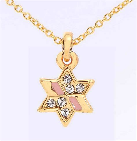 pink star necklace golden jewish star necklace with pink accents