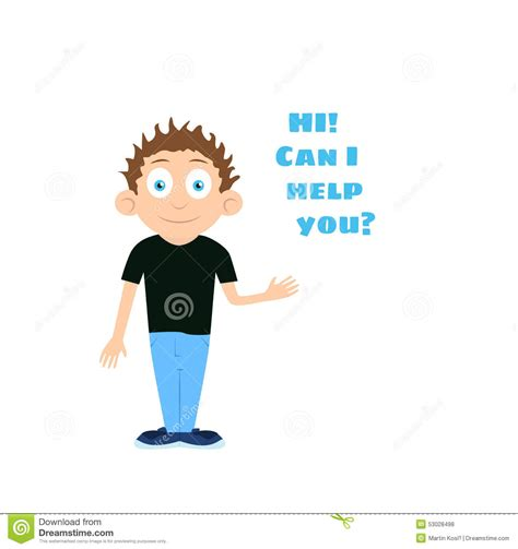 hi can vector support boy cartoon character offering help stock