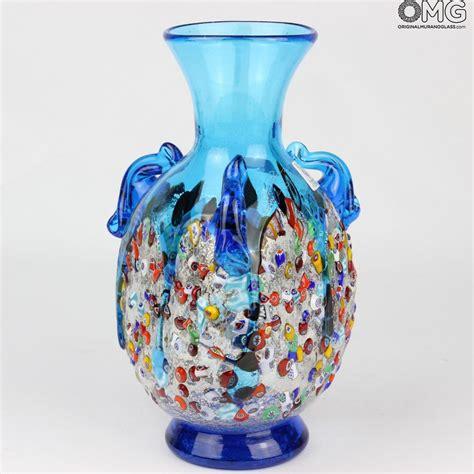murano vase anfora light blue vase murano glass millefiori