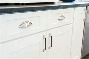 Porcelain Undermount Kitchen Sink by Satin Nickel Cabinet Pulls On White Shaker Cabinets