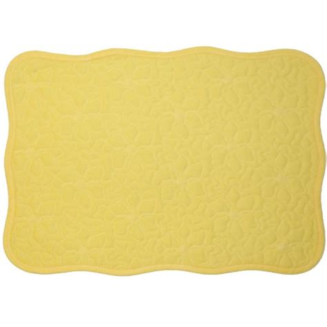 Yellow Quilted Placemats by Yellow Quilted Scallop Rectangle Placemat