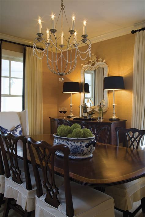 Beautiful Dining Room Chandeliers Beautiful Classic Dining Room Textured Wallpaper Black Accents A Great Chandelier Makes The