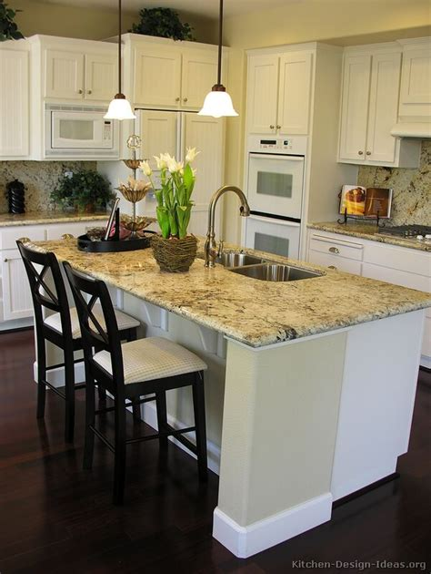 Kitchen Island Breakfast Bar Designs Pictures Of Kitchens Traditional White Kitchen Cabinets