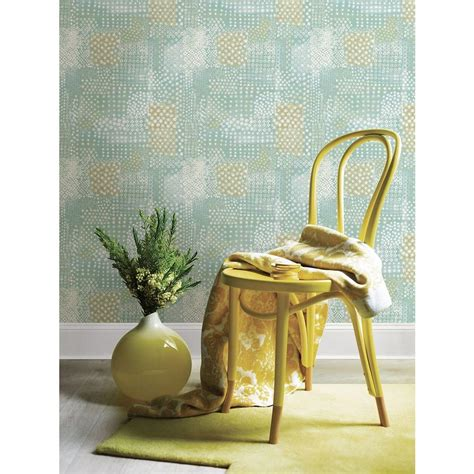 Flower Power Patchwork - a plume turquoise ogee wallpaper 2702 22701 the