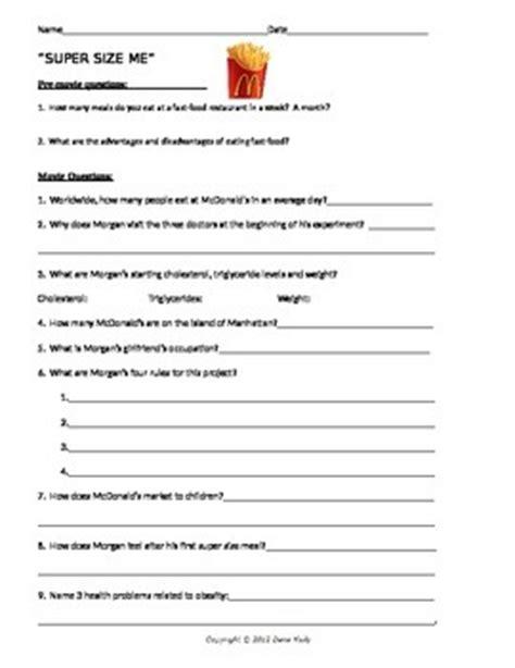 Supersize Me Worksheet Answer Key