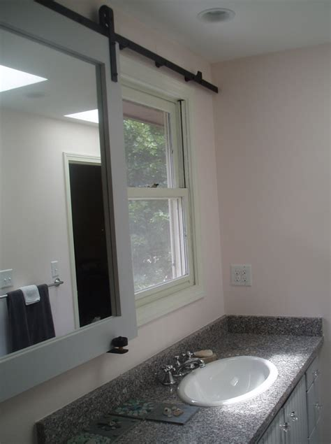 sliding bathroom mirror small bathroom design idea kitchen studio of naples inc